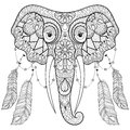 Zentangle indian Elephant with bird feathers in boho chic style. Royalty Free Stock Photo