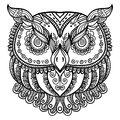 Zentangle inspired abstract owl . Vector hand drawn illustration.