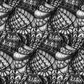 Zentangle pattern monochrome hand drawn seamless in style Royalty Free Stock Image
