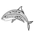 Zentangle shark totem for adult anti stress coloring page for ar art therapy illustration in doodle style vector monochrome sketch Stock Photography