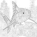 Zentangle Stylized Aquarium Vector Illustration