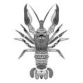 Zentangle stylized Black Crawfish. Hand Drawn Crayfish Royalty Free Stock Photo