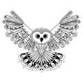 Zentangle Stylized Black Owl. ...