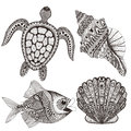 Zentangle stylized black sea shells, fish and turtle. Hand Drawn Royalty Free Stock Photo
