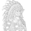 Zentangle stylized chief