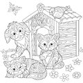 Zentangle stylized domestic pets