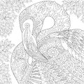 Zentangle stylized flamingo