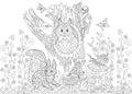 Zentangle stylized forest animals Royalty Free Stock Photo