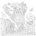 Zentangle stylized forest scene Royalty Free Stock Photo