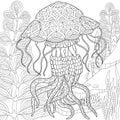 Zentangle stylized jellyfish