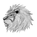 Zentangle stylized Lion face. Hand Drawn doodle vector illustrat Royalty Free Stock Photo