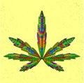 Zentangle stylized marijuana leaf. Sketch for Royalty Free Stock Photo