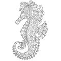 Zentangle stylized seahorse Royalty Free Stock Photo
