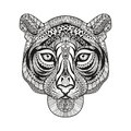 Zentangle stylized Tiger face. Hand Drawn doodle vector Royalty Free Stock Photo