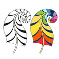 Zentangle stylized tribal rainbow color and monochrome feathers
