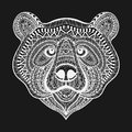 Zentangle stylized White Bear face. Hand Drawn doodle vector ill