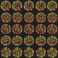 Zentangle sunflower seamless pattern.