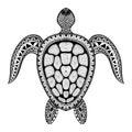 Zentangle tribal stylized turtle hand drawn aquatic doodle vect vector illustration sketch for tattoo or makhenda animal sea Royalty Free Stock Image