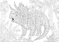 Zentangle triceratops dinosaur Royalty Free Stock Photo