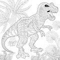 Zentangle tyrannosaurus dinosaur