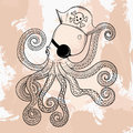 Zentangle vector Octopuss, tattoo design. Ornamental tribal Royalty Free Stock Photo