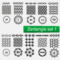 Zentangle Vector seamless patterns and brushes set 1, hand drawn frames Monochrome hipster prints, backgrounds with Royalty Free Stock Photo