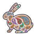 Zentangle and zendoodle hare. Zen tangle and zen doodle animal. Coloring book wildlife. Rabbit vector.