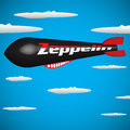 Zeppelin abstract colorful background with black flying among clouds Royalty Free Stock Photo