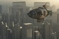 Zeppelin and cityscape fantasy steampunk airship over sprawling city Royalty Free Stock Photos
