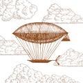 Zeppelin in Clouds on Sky Hand Draw Sketch. Vector