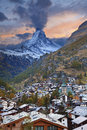 Zermatt and matterhorn image of the taken during dramatic sunset Stock Photos