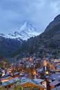 Zermatt and matterhorn image of the taken during twilight blue hour Royalty Free Stock Image