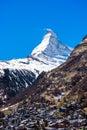 Zermatt village with Matterhorn Peak in background Royalty Free Stock Photo