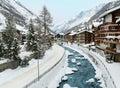 Zermatt Village Winter Scene