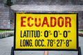Zero latitude sign at mitad del mundo ecuador south america Stock Photography