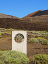 Zero meridian monument on hierro previous place and the canary islands spain Royalty Free Stock Images