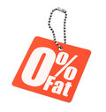 Zero percent fat tag isolated on white background Stock Images