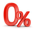 Zero percent symbol Royalty Free Stock Photo