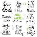 Zero waste no plastic quote lettering set. Calligraphy inspiration graphic design typography element. Hand written postcard Cute
