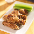 Zesty garlic parmesan chicken wings close up photo Stock Photos