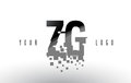 ZG Z G Pixel Letter Logo with Digital Shattered Black Squares
