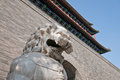Zhengyangmen gate lion statue in front of gatehouse commonly know as qianmen in dongcheng district beijing china Stock Photo
