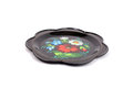 Zhostovo tray small round decorated in russian art technique Royalty Free Stock Photo