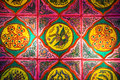 Zhuang Brocade,Chinese fabric background Royalty Free Stock Photo