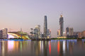 Zhujiang new town at dusk the skyline of the bcd of guangzhou from the pearl river side guangzhou of china Stock Images