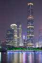 Zhujiang new town at night the the bcd of guangzhou from the pearl river side guangzhou of china Stock Image