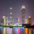 Zhujiang new town at night the skyline of the bcd of guangzhou from the pearl river side guangzhou of china Stock Image