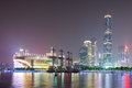 Zhujiang new town at night the skyline of the bcd of guangzhou from the pearl river side guangzhou of china Stock Photo