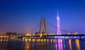 Zhujiang river and modern building of financial district at nigh night in guangzhou china Stock Image