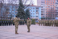 Zhytomyr, Ukraine - February 26, 2016: Military military parade, rows of soldiers